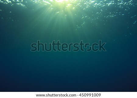 Underwater Blue background and sunlight in ocean