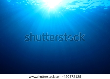 Underwater blue background and sunlight in sea - stock photo