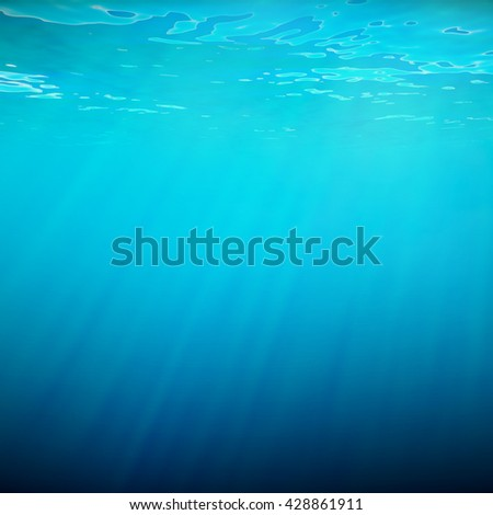 Underwater blue background in sea, ocean, with volume light. 3d illustration - stock photo