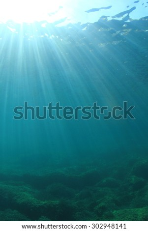 Underwater blue ocean background - stock photo