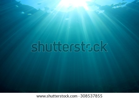 Underwater blue sea and sunlight - stock photo