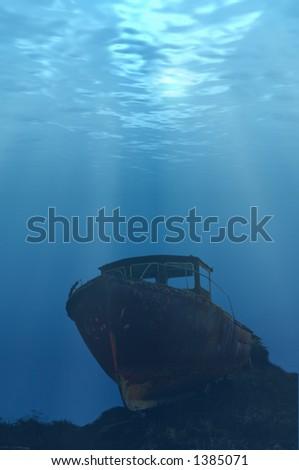 Underwater Boat - stock photo