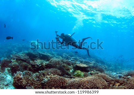 Underwater cameraman enjoys a scuba dive on a coral reef - stock photo