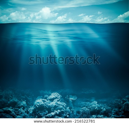 Underwater coral reef seabed and water surface with sky - stock photo