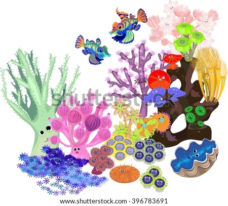 Underwater coral reef with fish on white background - stock photo