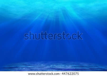 underwater deep blue sea abstract background with sun ray and reflection shadow on  sand for your abstract design. - stock photo
