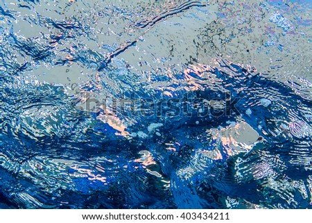 Underwater design pattern. Water sea surface with ripples and reflections - stock photo
