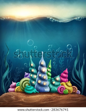Underwater fantasy kingdom with shell houses - stock photo