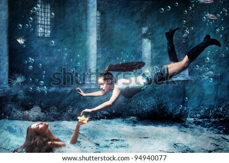 underwater fantasy scene, photo combined - stock photo