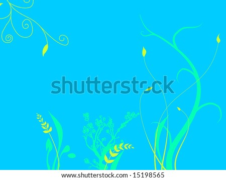 Underwater Foliage Growing On Sea Ocean Bed with  a light Blue Tone and Green and Purple Flowers Plants Grass Illustration Design - stock photo