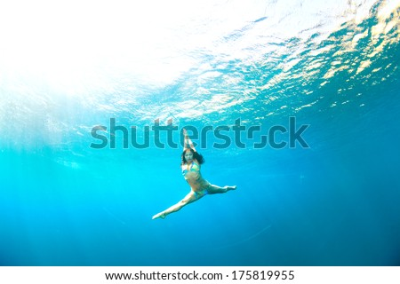 underwater gymnastic splits - stock photo