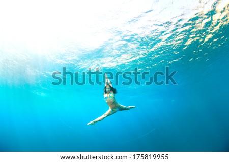 underwater gymnastic splits - stock photo
