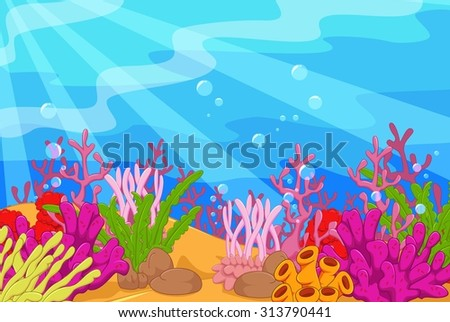 Underwater landscape - stock photo