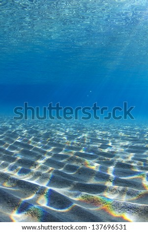 Underwater landscape with light beams passing trough and reflecting of surface of the water, creating breathtaking scenery. / Underwater Reflections - stock photo