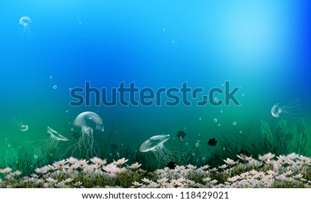 Underwater life of the seas and oceans - stock photo