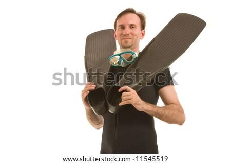underwater man - stock photo