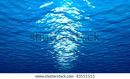 Underwater marine world with reflective blue ocean. - stock photo