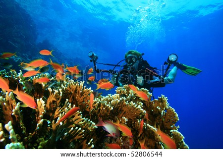 Underwater Photographer with camera in housing