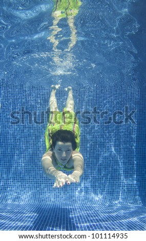 Underwater picture of a woman swimming.