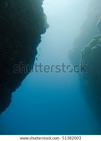 Underwater rocks seen while scuba diving in tenerife - stock photo
