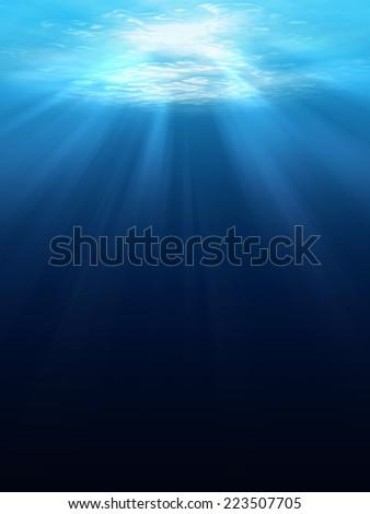 Underwater scene background with sunlight - stock photo