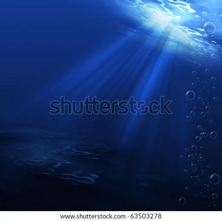 underwater scene blue for background - stock photo