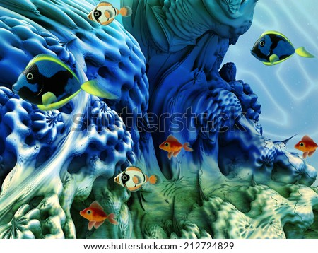 Underwater scene with coral plants and tropical fishes. - stock photo