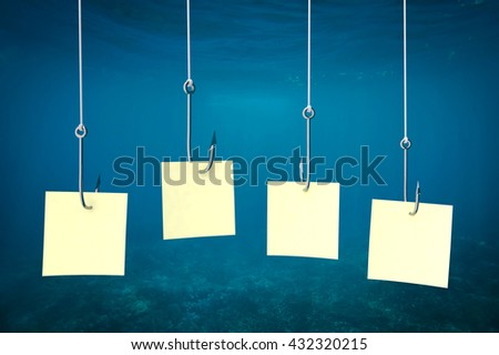 Underwater scene with fishing hooks and banner for text, 3d illustration