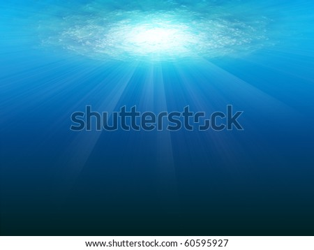 Underwater Scene with sun rays abstract with water and sun rays - stock photo