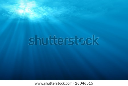 Underwater scene with sun rays and air bubbles. - stock photo
