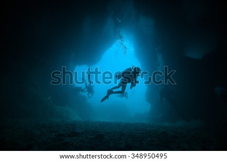 Underwater sea and  scuba divers - stock photo