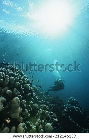 Underwater shoot of a scuba diver with rays of light streaming from surface - stock photo
