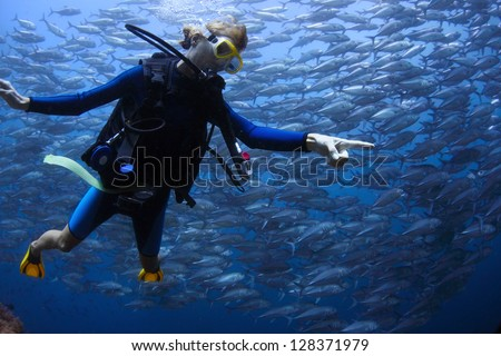 Underwater shoot of a young lady diving with scuba in a clear sea and pointing to something more interesting than swirling school of Jack fish - stock photo