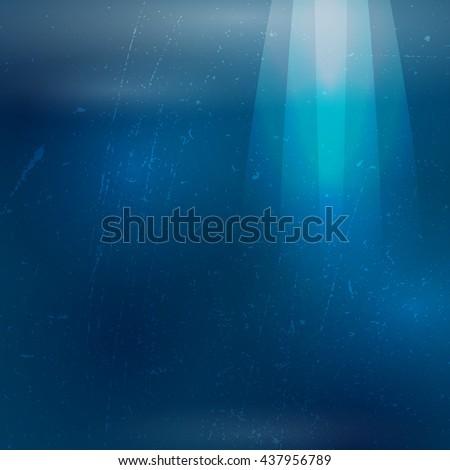 Underwater sunrays for aqua travel design. illustration. - stock photo