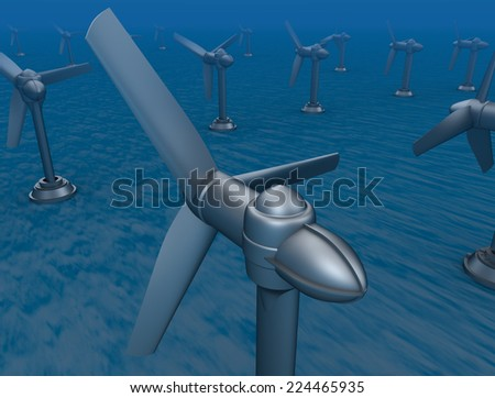 Underwater turbine tap river energy - stock photo