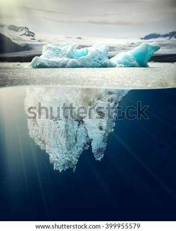 underwater view of iceberg in nice scenery of Iceland - stock photo