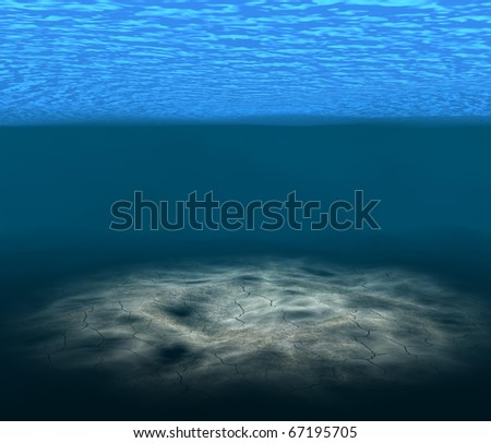 Underwater wave with light - stock photo