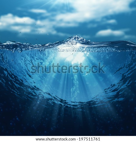 Underwater world, abstract marine backgrounds for your design - stock photo