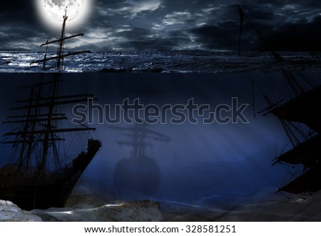 underwater world with old ship - stock photo