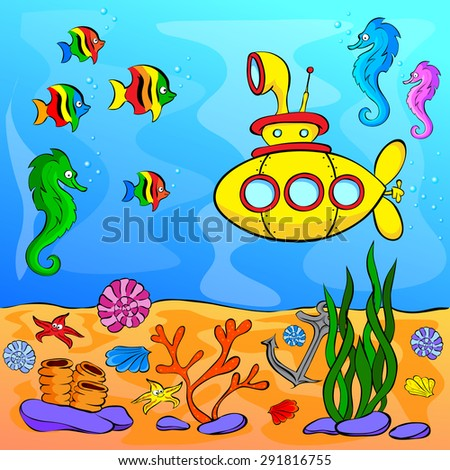 Underwater world with yellow submarine. Cartoon illustration with fish and corals
