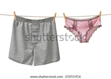 Underwear Hanging on a Clothesline isolated on white background - stock photo