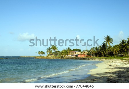 undeveloped North End Beach hotel Caribbean Sea Big Corn Island Nicaragua Central America - stock photo