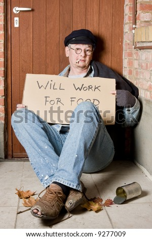 Unemployed beggar in the streets asking for a job