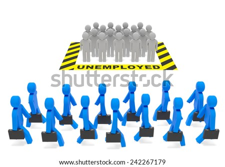 Unemployment (employment) job social policy concept. Unemployed population and occupied (employed) population (job holders, workers) as symbol of job market, economic climate, jobless rate - stock photo
