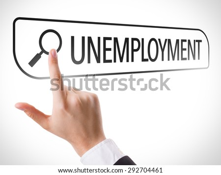 Unemployment written in search bar on virtual screen - stock photo