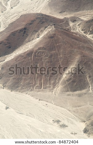 Unesco Heritage: Lines and Geoglyphs of Nazca, Peru - Astronaut - stock photo