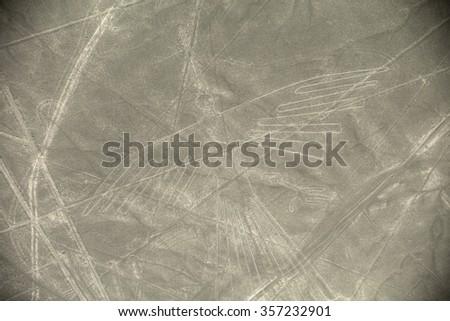 Unesco Heritage: Lines and Geoglyphs of Nazca, Peru - Condor - stock photo