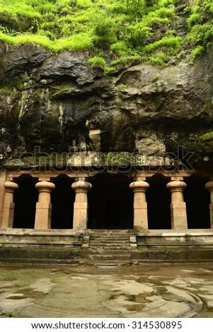Unesco. Hindu Temple, Elephanta Island caves, near Mumbai, Bombay, Maharashtra state, India - stock photo