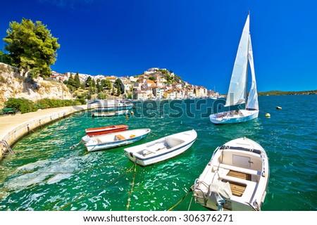 UNESCO town of Sibenik sailing destination coast view, Dalmatia, Croatia - stock photo