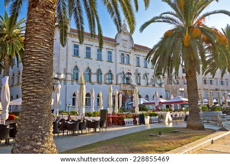 UNESCO town of Trogir waterfront architecture, Dalmatia, Croatia - stock photo